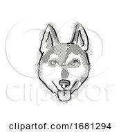 Alaskan Klee Kai Dog Breed Cartoon Retro Drawing