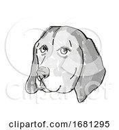 American English Coonhound Dog Breed Cartoon Retro Drawing