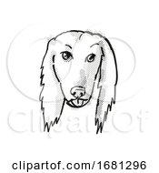 Afghan Hound Dog Breed Cartoon Retro Drawing