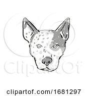 Australian Cattle Dog Dog Breed Cartoon Retro Drawing