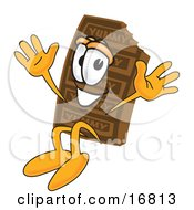 Clipart Picture Of A Chocolate Candy Bar Mascot Cartoon Character Jumping