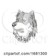 Finnish Lapphund Dog Breed Cartoon Retro Drawing