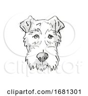 Fox Terrier Dog Breed Cartoon Retro Drawing