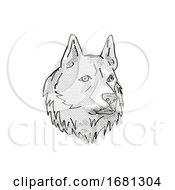 Poster, Art Print Of Finnish Spitz Dog Breed Cartoon Retro Drawing