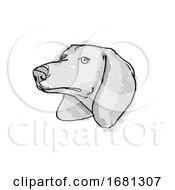 Poster, Art Print Of Dachshund Dog Breed Cartoon Retro Drawing