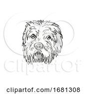 Poster, Art Print Of Dandie Dinmont Terrier Dog Breed Cartoon Retro Drawing