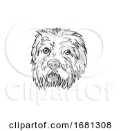 Dandie Dinmont Terrier Dog Breed Cartoon Retro Drawing
