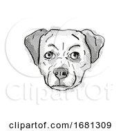 Poster, Art Print Of Chug Pughuahua Or Pugwawa Breed Cartoon Retro Drawing