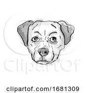 Chug Pughuahua Or Pugwawa Breed Cartoon Retro Drawing