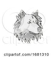 Poster, Art Print Of Chusky Mixed Breed Dog Breed Cartoon Retro Drawing