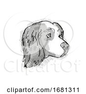 Clumber Spaniel Dog Breed Cartoon Retro Drawing