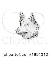 Corgi Inu Mixed Breed Dog Breed Cartoon Retro Drawing