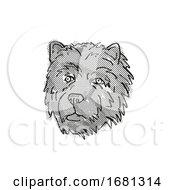Chow Chow Dog Breed Cartoon Retro Drawing