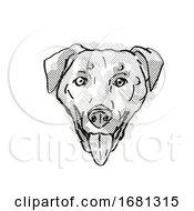 Chinook Dog Breed Cartoon Retro Drawing