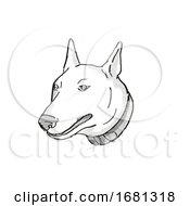 Bull Terrier Dog Breed Cartoon Retro Drawing