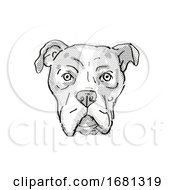 Bullboxer Pit Or American Bullboxer Dog Breed Cartoon Retro Drawing
