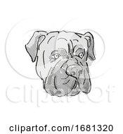 Poster, Art Print Of Bullmastiff Dog Breed Cartoon Retro Drawing