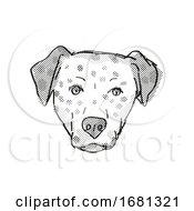 Poster, Art Print Of Bullmatian Dog Breed Cartoon Retro Drawing