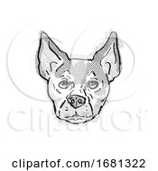 Poster, Art Print Of Chihuahua Dog Breed Cartoon Retro Drawing