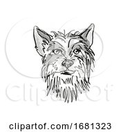 Chinese Crested Dog Breed Cartoon Retro Drawing