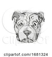 Chinese Shar Pei Dog Breed Cartoon Retro Drawing