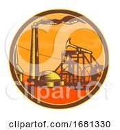 Oil Well With Pump Jack Circle Icon Retro