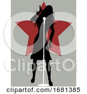 Singer Female Silhouette On Vintage Background With Star