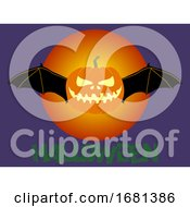Halloween Pumpkin with Bat Wings and Text by elaineitalia #COLLC1681386-0046