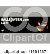 Halloween Party Black Banner With Evil Face And Text
