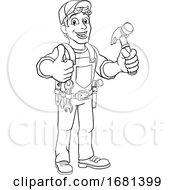 Handyman Hammer Cartoon Man DIY Carpenter Builder