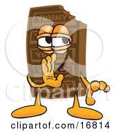 Chocolate Candy Bar Mascot Cartoon Character Whispering And Gossiping