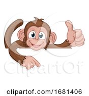 Monkey Cartoon Animal Pointing Thumbs Up Sign