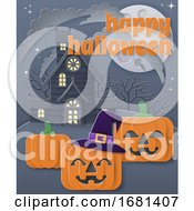 Happy Halloween Haunted House Pumpkin Background