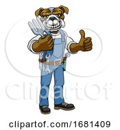 Poster, Art Print Of Bulldog Gardener Gardening Animal Mascot