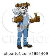 Bulldog Gardener Gardening Animal Mascot
