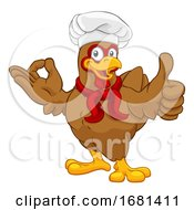 Poster, Art Print Of Chicken Chef Rooster Cockerel Thumbs Up Perfect