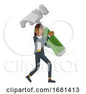 Asian Business Woman Holding Hammer Mascot Concept
