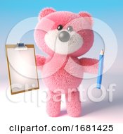Poster, Art Print Of Cartoon Cute 3d Pink Fluffy Teddy Bear Soft Toy Holding A Pencil And Clipboard 3d Illustration