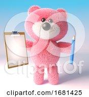 Cartoon Cute 3d Pink Fluffy Teddy Bear Soft Toy Holding A Pencil And Clipboard 3d Illustration