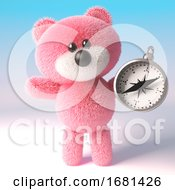 Poster, Art Print Of Cartoon Cute 3d Fluffy Pink Teddy Bear Soft Toy Character Holding A Magnetic Compass 3d Illustration