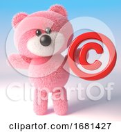 Poster, Art Print Of Cute Pink 3d Fluffy Teddy Bear Soft Toy Character Holding A Copyright Symbol 3d Illustration