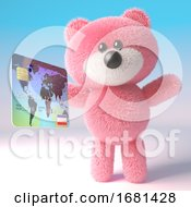 Poster, Art Print Of Cute Pink Fluffy 3d Teddy Bear Soft Toy Character Holding A Credit Debit Card 3d Illustration
