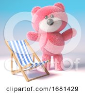 Poster, Art Print Of Cute 3d Pink Fluffy Teddy Bear Soft Toy Character Standing Next To A Deckchair 3d Illustration
