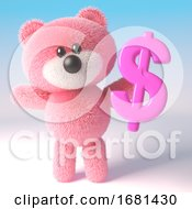 Poster, Art Print Of 3d Cute Pink Fluffy Teddy Bear Soft Toy Character Holding A Pink Us Dollar Currency Symbol 3d Illustration