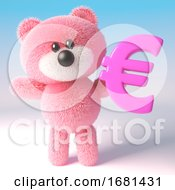 Poster, Art Print Of Pink Fluffy 3d Teddy Bear Soft Toy Character Holding A Pink Euro Currency Symbol 3d Illustration