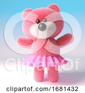 Poster, Art Print Of Pink Cute 3d Cartoon Teddy Bear Soft Toy Character Wearing A Pink Tutu Fairy Dress 3d Illustration