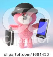 Cartoon 3d Pink Fluffy Teddy Bear Wearing A Bowler Hat And Holding A Briefcase And Smartphone Tablet Device 3d Illustration
