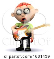 Poster, Art Print Of 3d Zombie Guitarist