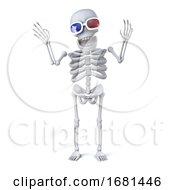 3d Skeleton Enjoys The 3d Movie In His 3d Glasses