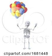 3d Skeleton Has Some Beatiful Balloons